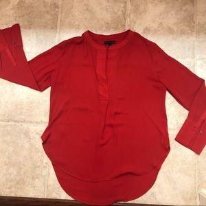 BANANA REPUBLIC red long sleeve blouse top medium